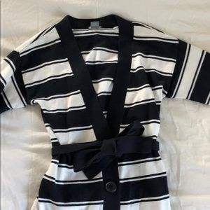 Ann Taylor baby blue and white striped sweater